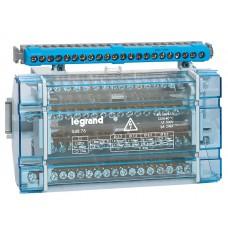 Répartiteur modulaire monobloc Lexic - 4P - 125 A - 17 connexions - 10 modules
