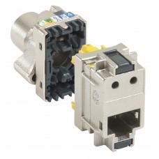 Bloc 6 connecteurs RJ45 - cat.6A - STP - métal - pr panneau brassage 19'' - LCS²