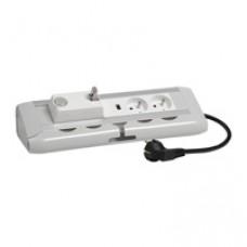 Bloc bureau - courants fort/faible- 2x2P+T + 1 chargeur USB + 1 dérouleur RJ45