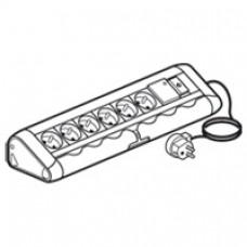 Bloc bureau - 6x2P+T + 1 interrupteur lumineux + parasurtenseur - avec cordon