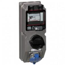 Coffret monoprise Hypra - IP44 - 63 A - 380/415 V~ - 3P+T - Prisinter + disjoncteur dif