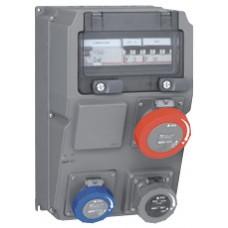 Coffret multiprises Hypra - IP66/67-55- 3 prises (1x3P+T 32A) -disjoncteur + interrupteur différentiel