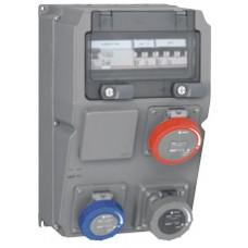 Coffret multiprises Hypra - IP66/67-55- 3 prises (1x3P+T 16A) -disjoncteur + Interrupteur différentiel