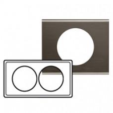 Plaque Céliane - Matières - 2 postes pour rénovation - Black Nickel
