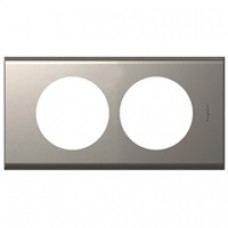 Plaque Céliane - 2 postes - pour rénovation - nickel velours