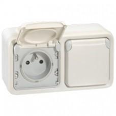Prises 2x2P+T horizontal précâblées Prog Plexo composable blanc - 16 A - 250 V