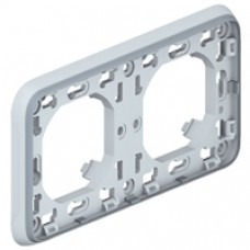 Support plaque - pour encastré Prog Plexo composable gris - 2 postes horiz