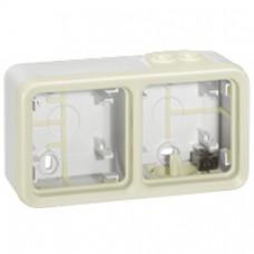 Boîtier à embouts Prog Plexo composable blanc - 2 postes horizontaux
