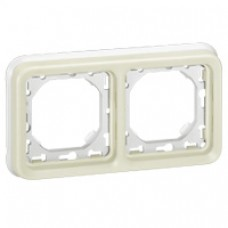 Support plaque - pour encastré Prog Plexo composable blanc - 2 postes horiz