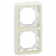 Support plaque - pour encastré Prog Plexo composable blanc - 2 postes vert