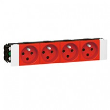 Prise pour goulotte clippage direct Mosaic - 4x2P+T détromp - 8 modules - rouge