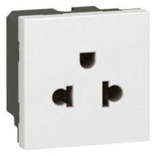 Prise Mosaic - Euro-US - 2P+T - 2 modules - blanc