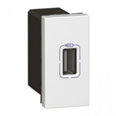 Alimentation USB 230 V / 5 V= - 1 port - 1 module - blanc