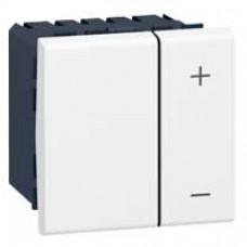 Interrupteur variateur Mosaic - 2 modules - sans neutre - 2 fils - 600 W - blanc