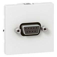 Prise SUB D Mosaic - pour liaison série type RS 232 à visser - 2 modules -blanc