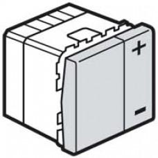 Interrupteur variateur Mosaic - 2 modules - sans neutre - 2 fils - 400 W - aluminium