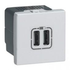 Alimentation USB 230 V / 5 V - 2 ports - 2 modules - aluminium