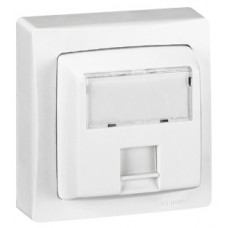 Prise RJ 45 Cat.5e UTP 8 contacts appareillage saillie complet - blanc