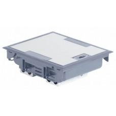 Boîte de sol haut. 75-105 - à équiper - 12 modules - couv inox gris RAL 7031