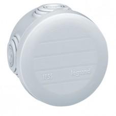 Boîte ronde - Ø 60/h 40 étanche Plexo gris - embout (4) -IP55/IK07- 650°C