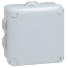 Boîte carrée 105x105x55 étanche Plexo gris - embout (7) -IP55/IK07- 650°C