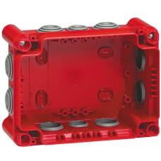 Boîte rectangulaire 155x110x74 étanche Plexo gris/rouge - embout/10 -IP55/IK07- 960°C