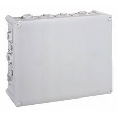 Boîte rectangulaire 310x240x124 étanche Plexo gris - embout (24) -IP55/IK07- 750°C