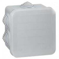Boîte carrée 80x80x45 étanche Plexo gris - embout gradins (7) -IP55/IK07- 650°C