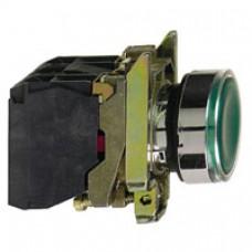 Bouton-poussoir lumineux vert Ø 22-à impulsion affleurant-250 V-1O+1F