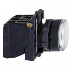 Bouton-poussoir lumineux blanc Ø 22-à impulsion affleurant-250 V-1O+1F