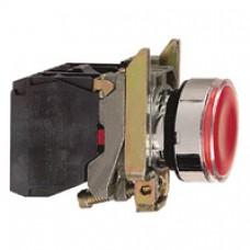 Bouton-poussoir lumineux rouge Ø 22-à impulsion affleurant-240 V-1O+1F