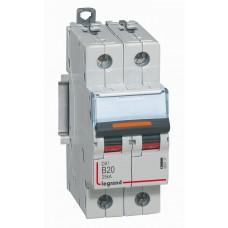 Disjoncteur DX³-vis/vis-2P-230/400V~-20A-25kA-courbe B-prot.départ-peigne HX³ trad 2P Legrand