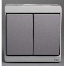 Double bouton-poussoir - gris - en saillie - IK07 IP55
