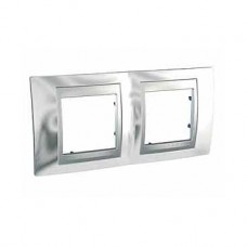 Plaque 4M double horizontal Chrome brillant Aluminium