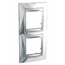 Plaque 4M double vertical Chrome brillant Aluminium