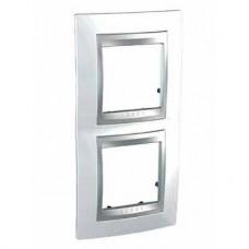 Plaque 4M double vertical Blanc techno Aluminium