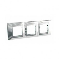 Plaque 6M triple horizontal Chrome brillant Aluminium