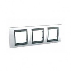 Plaque 6M triple horizontal Blanc techno Graphite