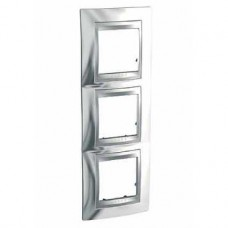 Plaque 6M triple vertical Chrome brillant Aluminium