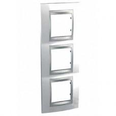 Plaque 6M triple vertical Blanc techno Aluminium