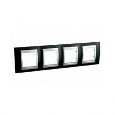 Plaque de finition 4 postes 4x2 M Noir Rhodium Aluminium