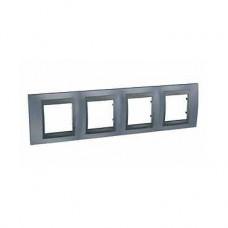 Plaque 8M quadruple horizontal Gris métal Graphite