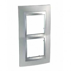 Plaque 4M double vertical chrome brillant/Aluminium