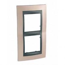 Plaque 4M double vertical cuivre onyx/Graphite