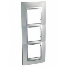 Plaque 6M triple vertical chrome brillant/Aluminium