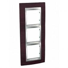 Plaque 6M triple vertical Wengé/Aluminium