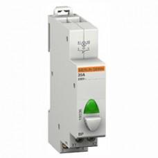 Bouton poussoir modulaire avec voyant BP gris voyant vert 110 à 230V 1 F