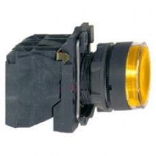 Bouton-poussoir lumineux jaune Ø 22-à impulsion affleurant-250 V-1O+1F