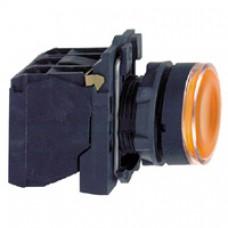Bouton-poussoir lumineux jaune Ø 22-à impulsion affleurant-240 V-1O+1F