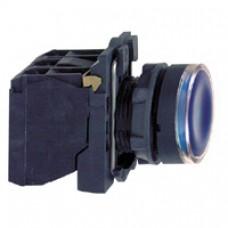 Bouton-poussoir lumineux bleu Ø 22-à impulsion affleurant-240 V-1O+1F